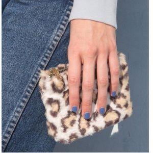 NEW fuzzy leopard wallet